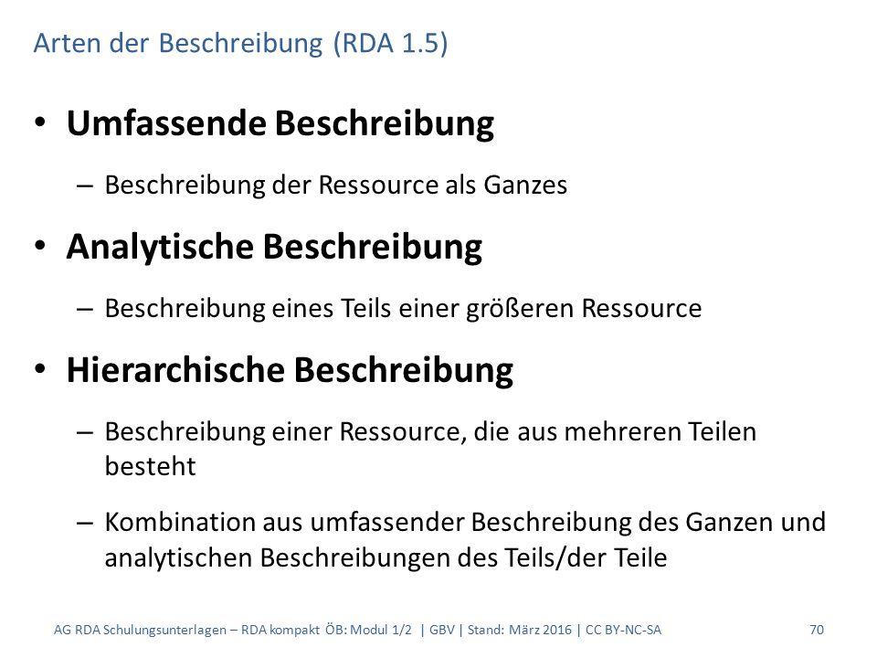 Arten der Beschreibung (RDA 1.5) Umfassende Beschreibung – Beschreibung der Ressource als Ganzes Analytische Beschreibung – Beschreibung eines Teils einer größeren Ressource Hierarchische Beschreibung – Beschreibung einer Ressource, die aus mehreren Teilen besteht – Kombination aus umfassender Beschreibung des Ganzen und analytischen Beschreibungen des Teils/der Teile 70AG RDA Schulungsunterlagen – RDA kompakt ÖB: Modul 1/2 | GBV | Stand: März 2016 | CC BY-NC-SA