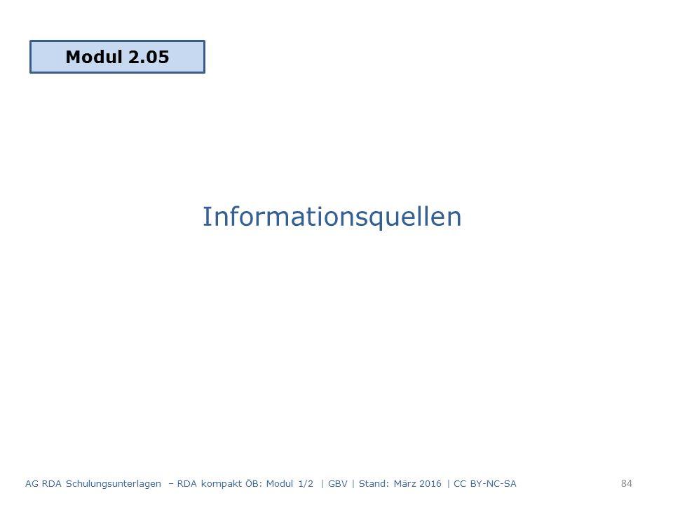 Informationsquellen Modul 2.05 84 AG RDA Schulungsunterlagen – RDA kompakt ÖB: Modul 1/2 | GBV | Stand: März 2016 | CC BY-NC-SA