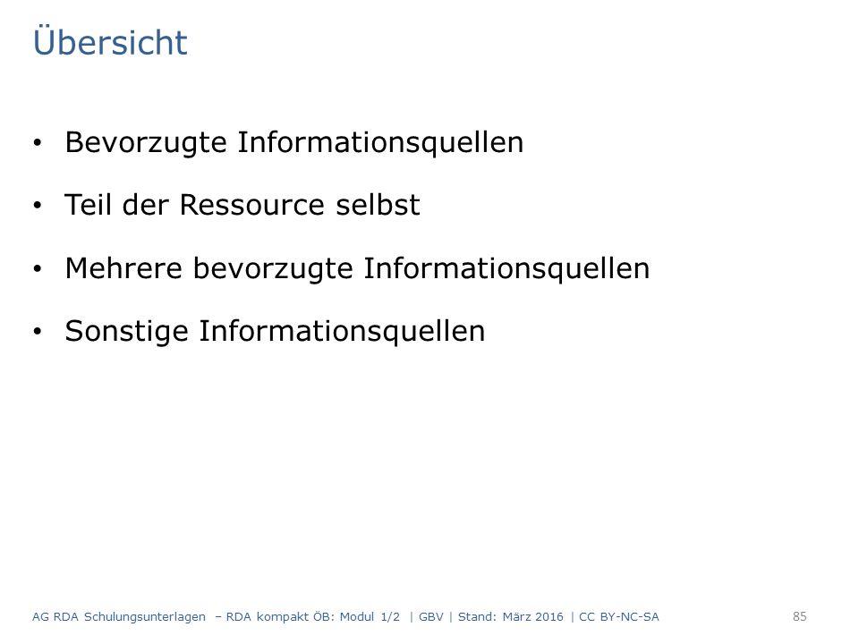 Übersicht Bevorzugte Informationsquellen Teil der Ressource selbst Mehrere bevorzugte Informationsquellen Sonstige Informationsquellen 85 AG RDA Schulungsunterlagen – RDA kompakt ÖB: Modul 1/2 | GBV | Stand: März 2016 | CC BY-NC-SA