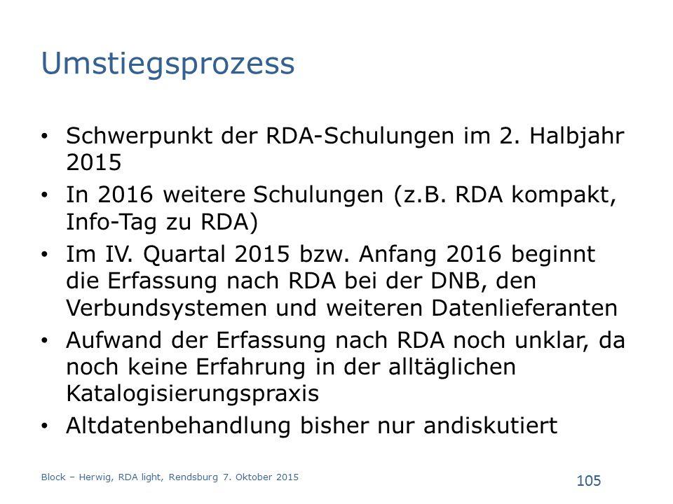 Umstiegsprozess Schwerpunkt der RDA-Schulungen im 2.