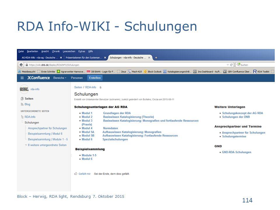RDA Info-WIKI - Schulungen Block – Herwig, RDA light, Rendsburg 7. Oktober 2015 114