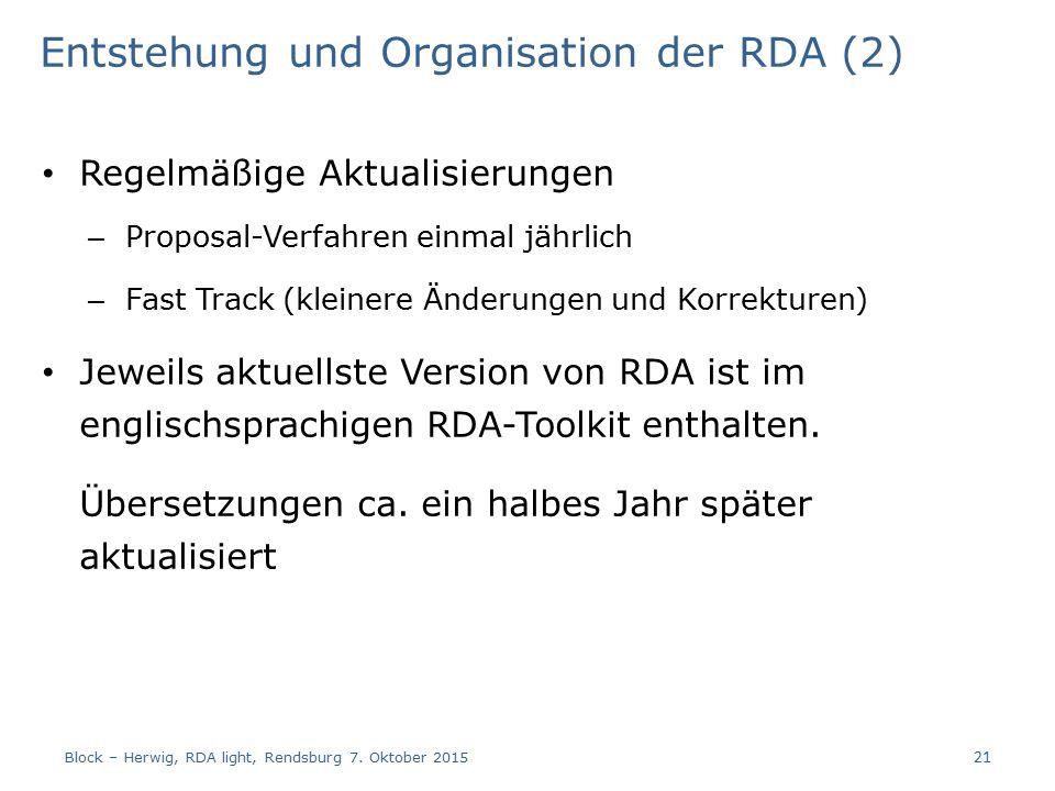 Entstehung und Organisation der RDA (2) Regelmäßige Aktualisierungen – Proposal-Verfahren einmal jährlich – Fast Track (kleinere Änderungen und Korrekturen) Jeweils aktuellste Version von RDA ist im englischsprachigen RDA-Toolkit enthalten.