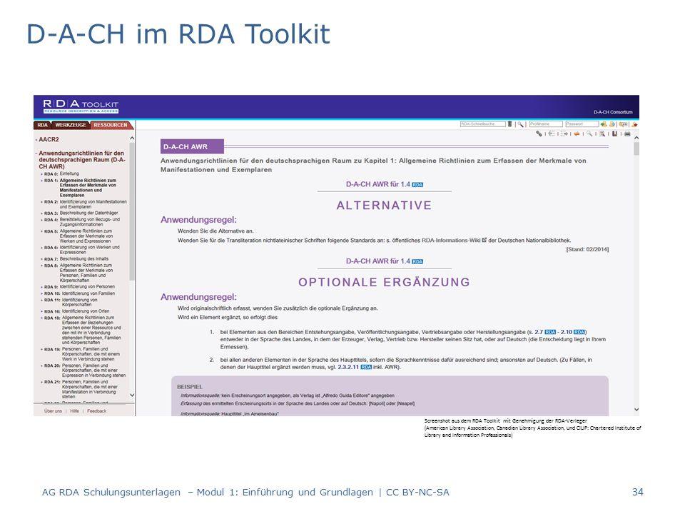 D-A-CH im RDA Toolkit AG RDA Schulungsunterlagen – Modul 1: Einführung und Grundlagen | CC BY-NC-SA 34 Screenshot aus dem RDA Toolkit mit Genehmigung der RDA-Verleger (American Library Association, Canadian Library Association, und CILIP: Chartered Institute of Library and Information Professionals)