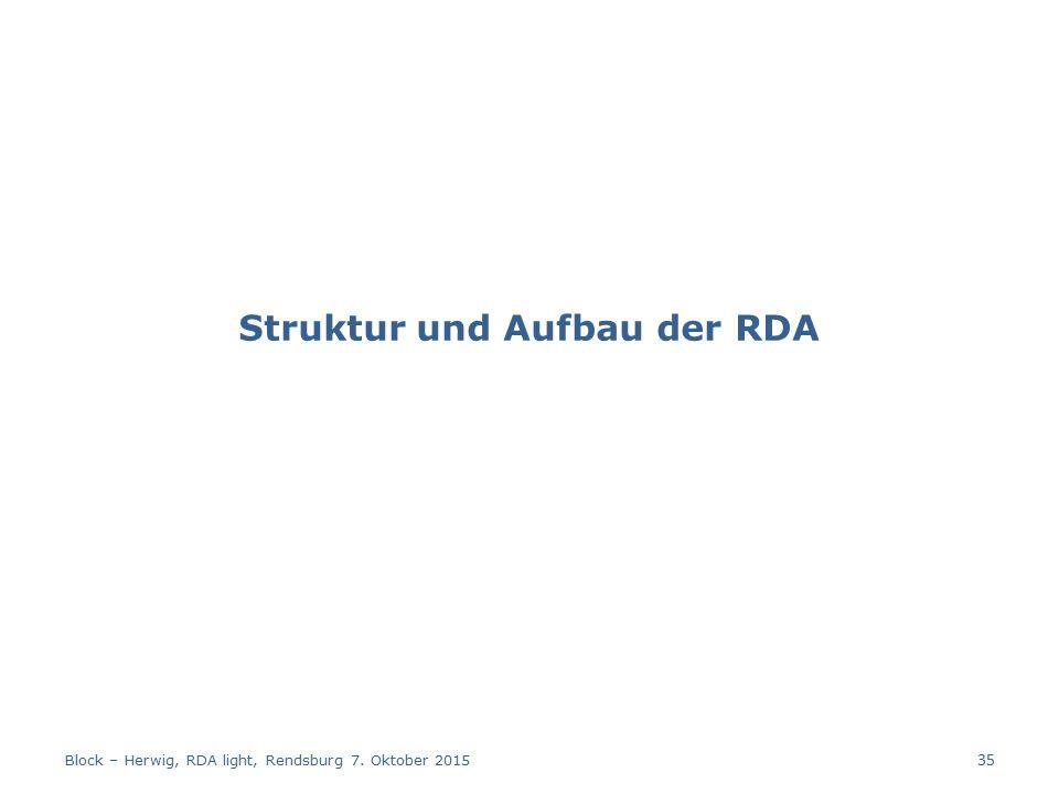 Struktur und Aufbau der RDA Block – Herwig, RDA light, Rendsburg 7. Oktober 2015 35