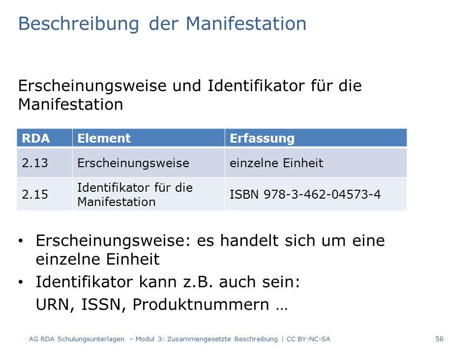 Beschreibung der Manifestation Erscheinungsweise und Identifikator für die Manifestation Erscheinungsweise: es handelt sich um eine einzelne Einheit Identifikator kann z.B.