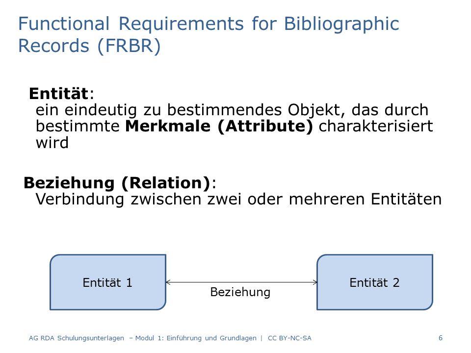 Entität: ein eindeutig zu bestimmendes Objekt, das durch bestimmte Merkmale (Attribute) charakterisiert wird Beziehung (Relation): Verbindung zwischen zwei oder mehreren Entitäten AG RDA Schulungsunterlagen – Modul 1: Einführung und Grundlagen | CC BY-NC-SA 6 Functional Requirements for Bibliographic Records (FRBR) Entität 1 Entität 2 Beziehung