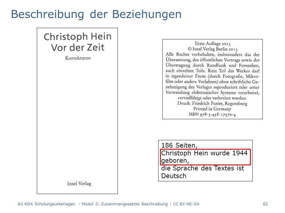 186 Seiten, Christoph Hein wurde 1944 geboren, die Sprache des Textes ist Deutsch Beschreibung der Beziehungen 62 AG RDA Schulungsunterlagen – Modul 3: Zusammengesetzte Beschreibung | CC BY-NC-SA