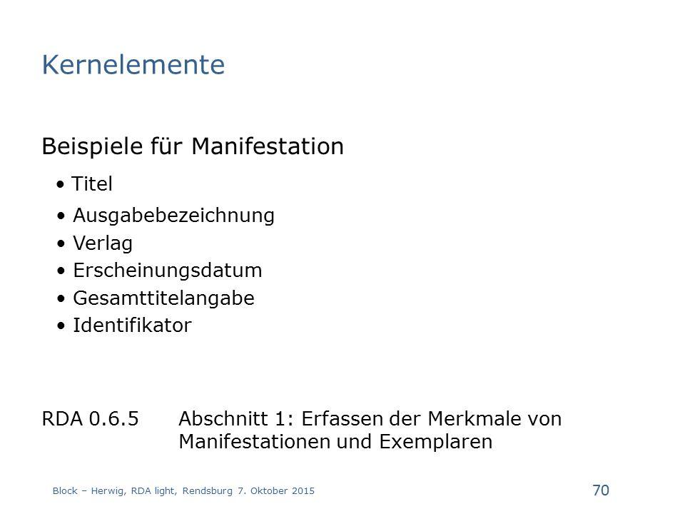 Kernelemente Beispiele für Manifestation Titel Ausgabebezeichnung Verlag Erscheinungsdatum Gesamttitelangabe Identifikator RDA 0.6.5 Abschnitt 1: Erfassen der Merkmale von Manifestationen und Exemplaren Block – Herwig, RDA light, Rendsburg 7.
