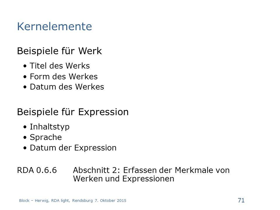 Kernelemente Beispiele für Werk Titel des Werks Form des Werkes Datum des Werkes Beispiele für Expression Inhaltstyp Sprache Datum der Expression RDA 0.6.6 Abschnitt 2: Erfassen der Merkmale von Werken und Expressionen Block – Herwig, RDA light, Rendsburg 7.
