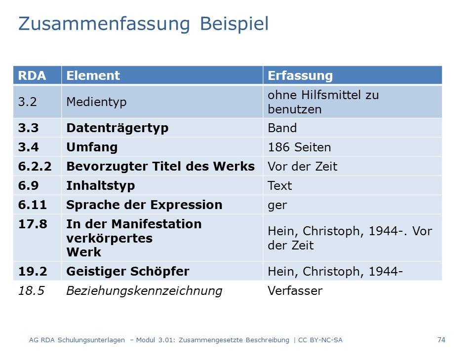 Zusammenfassung Beispiel RDAElementErfassung 3.2Medientyp ohne Hilfsmittel zu benutzen 3.3DatenträgertypBand 3.4Umfang186 Seiten 6.2.2Bevorzugter Titel des WerksVor der Zeit 6.9InhaltstypText 6.11Sprache der Expressionger 17.8 In der Manifestation verkörpertes Werk Hein, Christoph, 1944-.