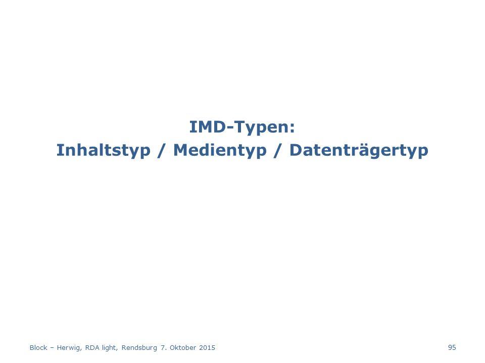 IMD-Typen: Inhaltstyp / Medientyp / Datenträgertyp Block – Herwig, RDA light, Rendsburg 7.