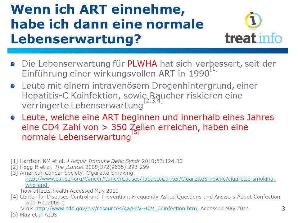 Die Lebenserwartung für Menschen mit HIV auf ART verlängert sich kontinuierlich Jahr des ART BeginnsAlter wenn ART begonnen wirdLebenserwartung 1996-19992056.1 Jahre 1996-199935 60.0 Jahre 2000-20022061.2 Jahre 2000-20023565.1 Jahre 2003-20052069.4 Jahre 2003-20053572.3 Jahre Adapted from Helfland, The Body, Life Expectancy Continues to Rise for HIVers on Treatment.