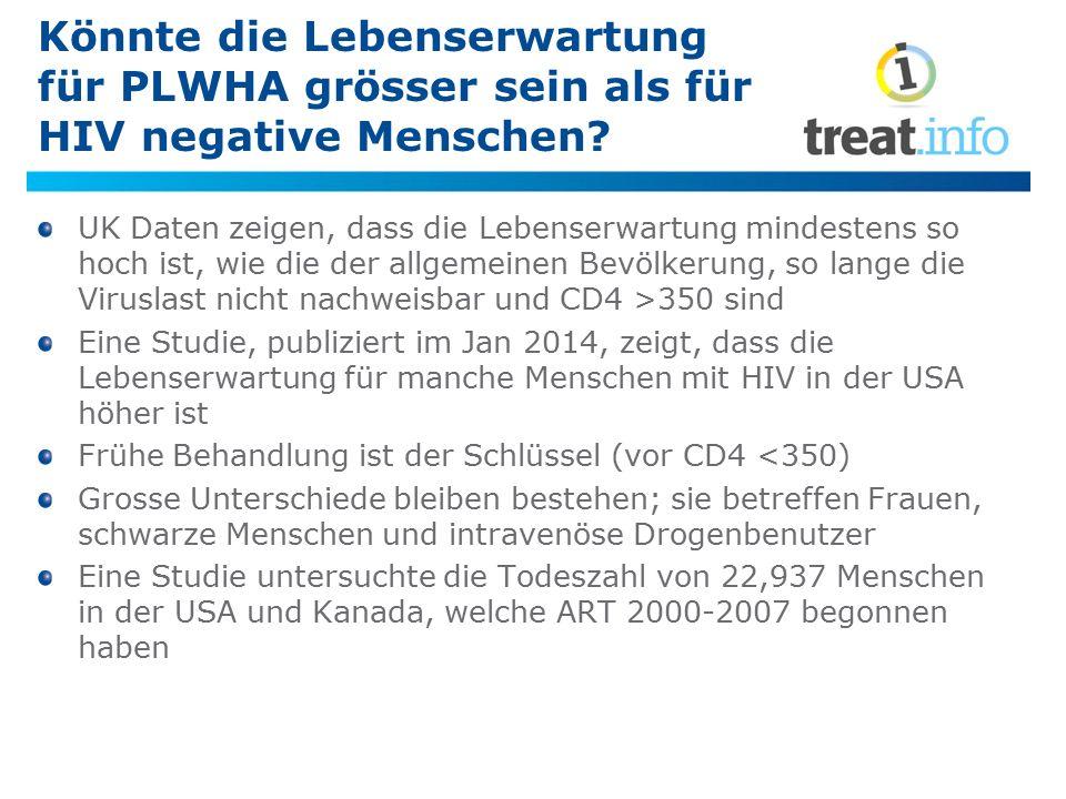 Könnte die Lebenserwartung für PLWHA grösser sein als für HIV negative Menschen? UK Daten zeigen, dass die Lebenserwartung mindestens so hoch ist, wie