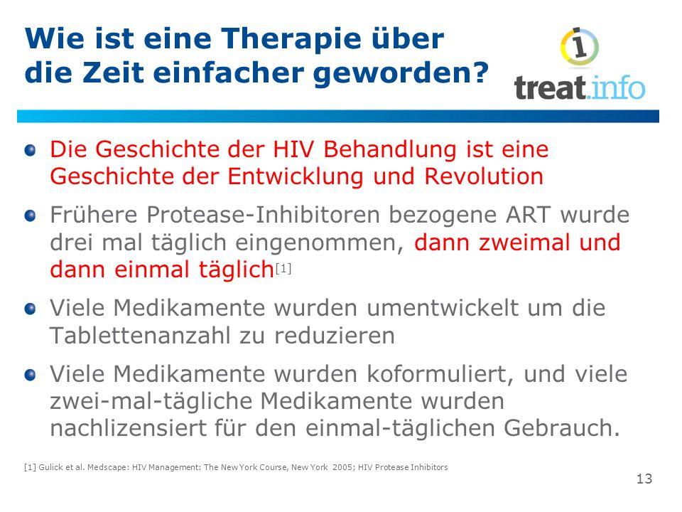 Wie ist eine Therapie über die Zeit einfacher geworden? Die Geschichte der HIV Behandlung ist eine Geschichte der Entwicklung und Revolution Frühere P