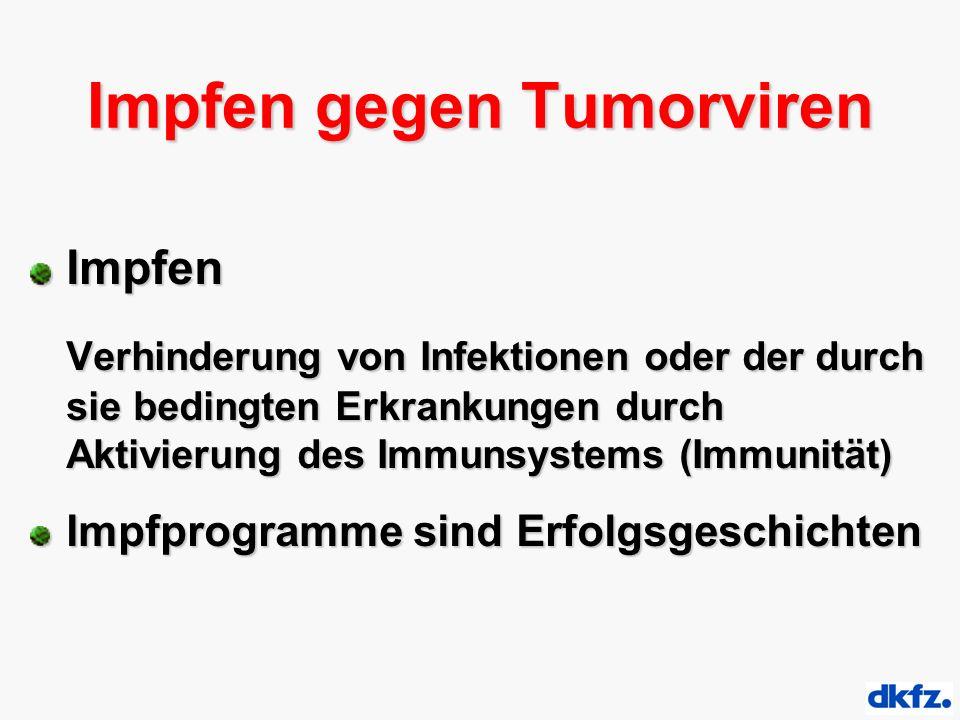 Impfen gegen Tumorviren Impfen Verhinderung von Infektionen oder der durch sie bedingten Erkrankungen durch Aktivierung des Immunsystems (Immunität) Impfprogramme sind Erfolgsgeschichten