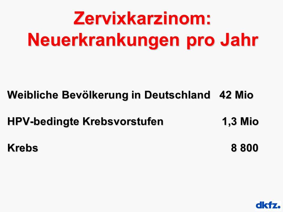 Zervixkarzinom: Neuerkrankungen pro Jahr Weibliche Bevölkerung in Deutschland 42 Mio HPV-bedingte Krebsvorstufen 1,3 Mio Krebs 8 800