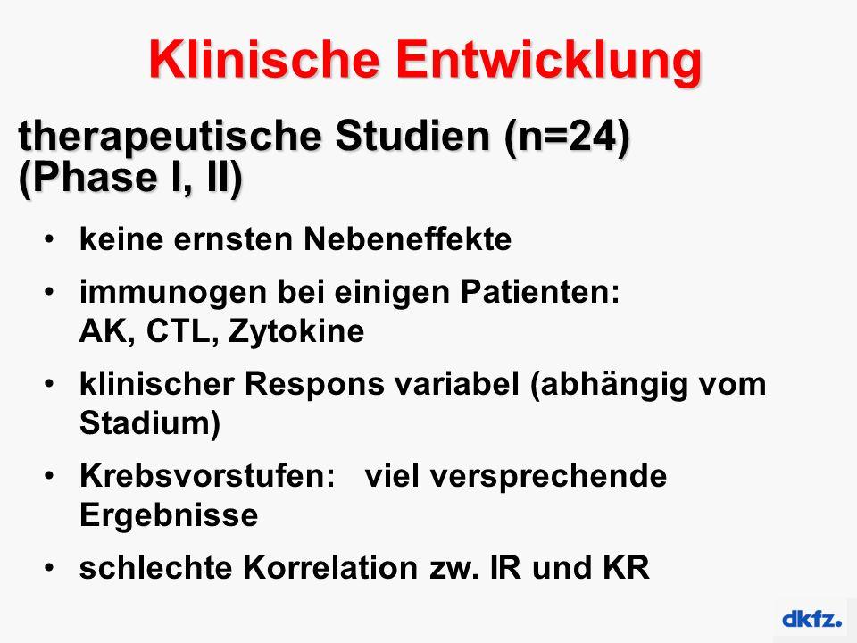 therapeutische Studien (n=24) (Phase I, II) keine ernsten Nebeneffekte immunogen bei einigen Patienten: AK, CTL, Zytokine klinischer Respons variabel