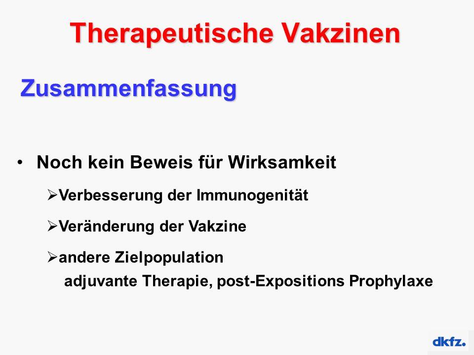 Therapeutische Vakzinen Zusammenfassung Noch kein Beweis für Wirksamkeit  Verbesserung der Immunogenität  Veränderung der Vakzine  andere Zielpopulation adjuvante Therapie, post-Expositions Prophylaxe