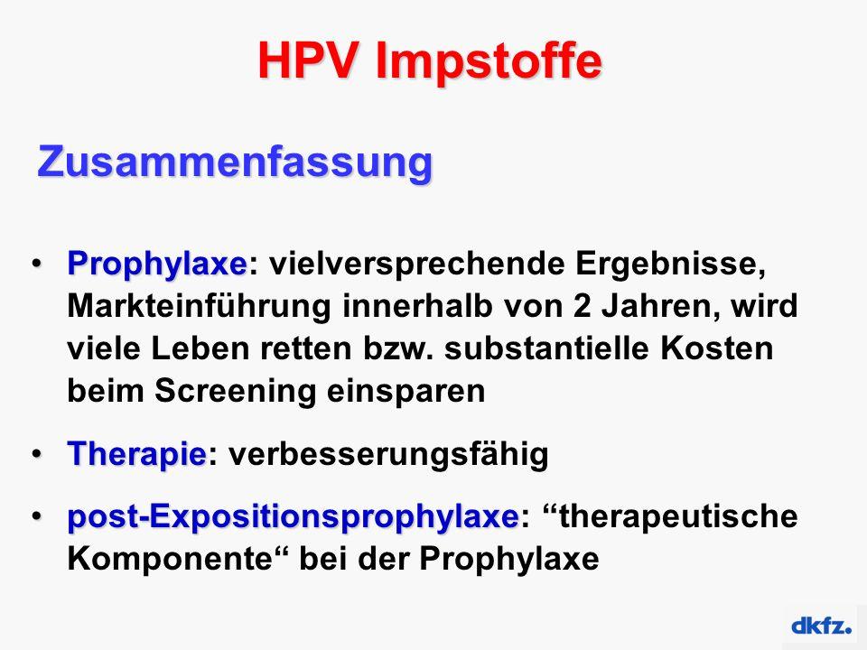 HPV Impstoffe Zusammenfassung ProphylaxeProphylaxe: vielversprechende Ergebnisse, Markteinführung innerhalb von 2 Jahren, wird viele Leben retten bzw.