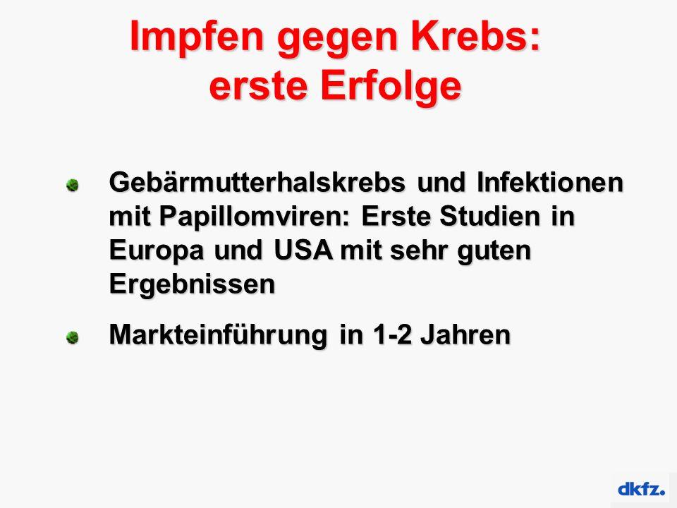 Gebärmutterhalskrebs und Infektionen mit Papillomviren: Erste Studien in Europa und USA mit sehr guten Ergebnissen Markteinführung in 1-2 Jahren Impfe