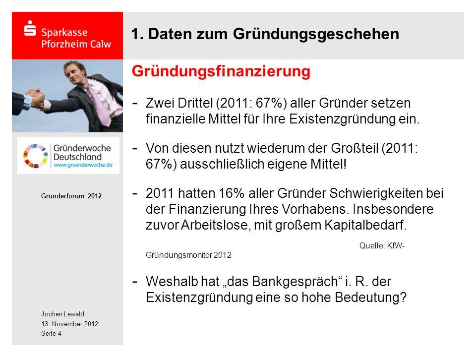 Jochen Lewald 13. November 2012 Gründerforum 2012 Seite 4 1.