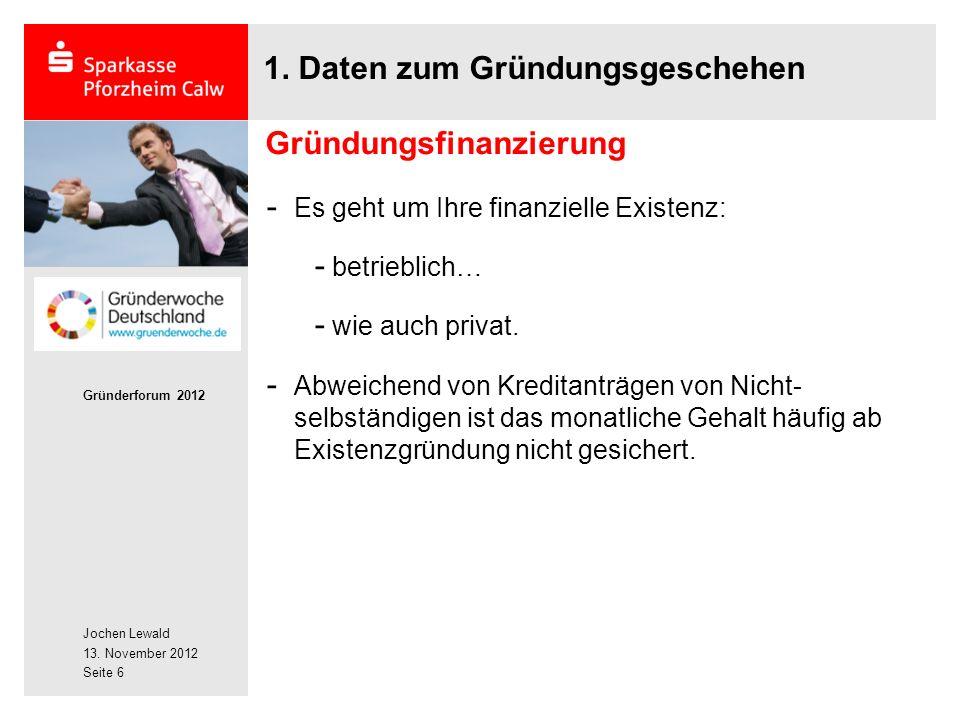 Jochen Lewald 13. November 2012 Gründerforum 2012 Seite 6 1.