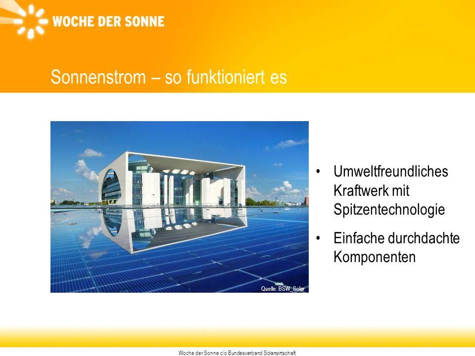 Woche der Sonne c/o Bundesverband Solarwirtschaft Sonnenstrom – so funktioniert es Umweltfreundliches Kraftwerk mit Spitzentechnologie Einfache durchdachte Komponenten Quelle: BSW_Solar