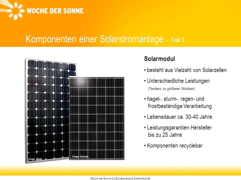 Woche der Sonne c/o Bundesverband Solarwirtschaft Image: Sharp Komponenten einer Solarstromanlage – Teil 3 Solarmodul besteht aus Vielzahl von Solarzellen Unterschiedliche Leistungen (Tendenz zu größeren Modulen) hagel-, sturm-, regen- und frostbeständige Verarbeitung Lebensdauer ca.