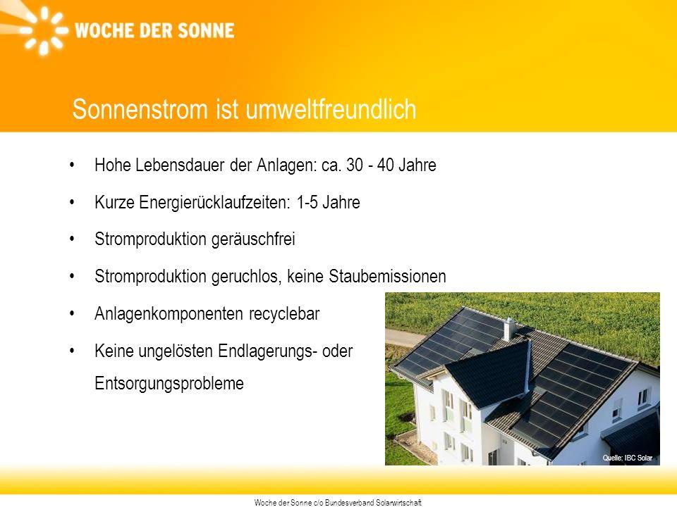 Woche der Sonne c/o Bundesverband Solarwirtschaft Sonnenstrom ist umweltfreundlich Hohe Lebensdauer der Anlagen: ca.