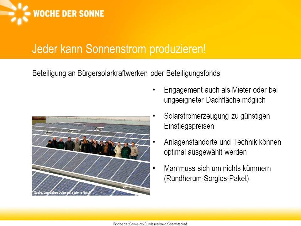 Woche der Sonne c/o Bundesverband Solarwirtschaft Jeder kann Sonnenstrom produzieren.