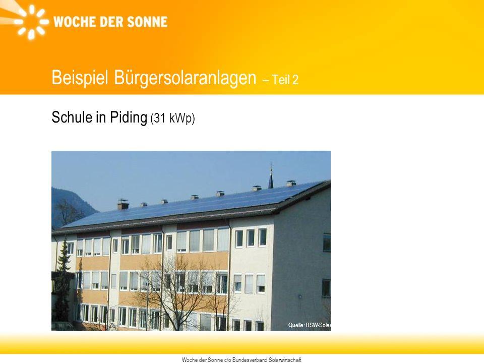Woche der Sonne c/o Bundesverband Solarwirtschaft Beispiel Bürgersolaranlagen – Teil 2 Schule in Piding (31 kWp) Quelle: BSW-Solar