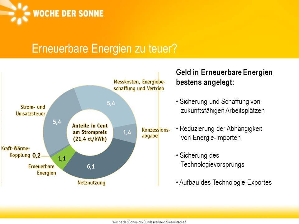 Woche der Sonne c/o Bundesverband Solarwirtschaft Erneuerbare Energien zu teuer.