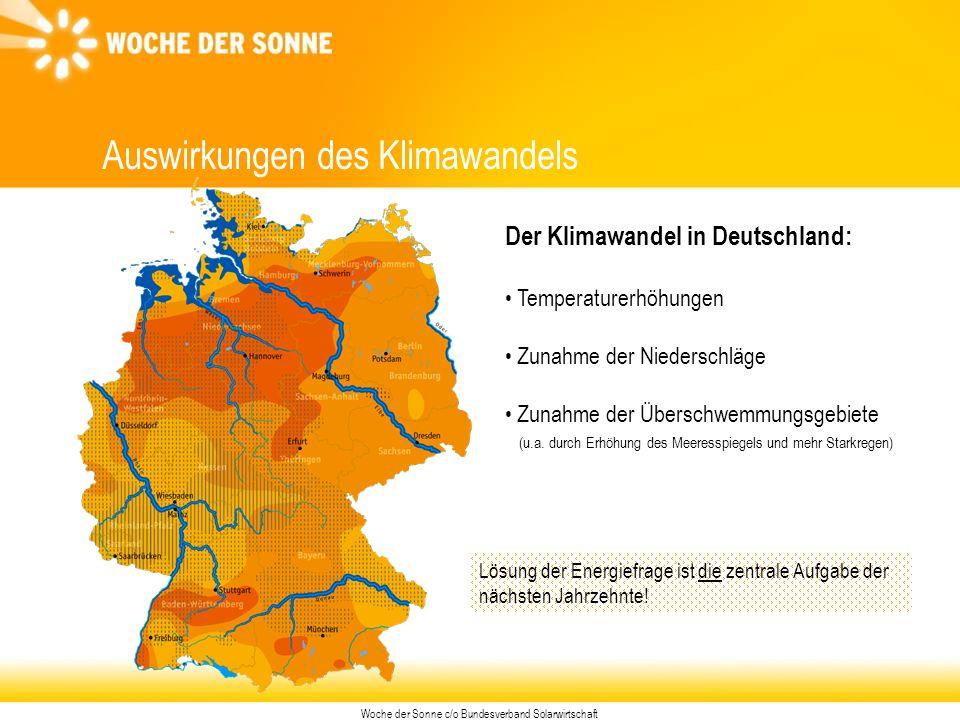 Woche der Sonne c/o Bundesverband Solarwirtschaft Auswirkungen des Klimawandels Der Klimawandel in Deutschland: Temperaturerhöhungen Zunahme der Niederschläge Zunahme der Überschwemmungsgebiete (u.a.