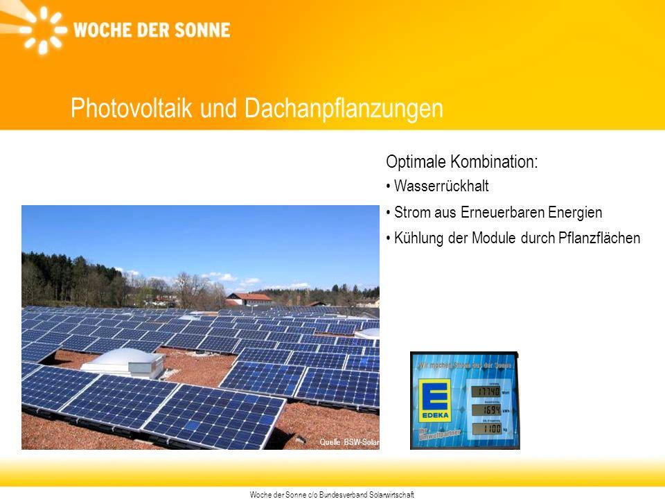 Woche der Sonne c/o Bundesverband Solarwirtschaft Photovoltaik und Dachanpflanzungen Optimale Kombination: Wasserrückhalt Strom aus Erneuerbaren Energien Kühlung der Module durch Pflanzflächen Quelle: BSW-Solar