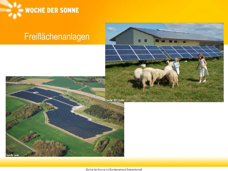 Woche der Sonne c/o Bundesverband Solarwirtschaft Freiflächenanlagen Quelle: juwi Quelle: IBC Solar