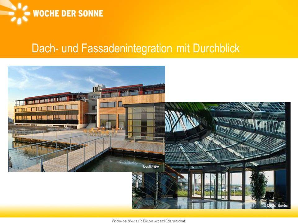 Woche der Sonne c/o Bundesverband Solarwirtschaft Dach- und Fassadenintegration mit Durchblick Quelle: Schüco Quelle: juwi