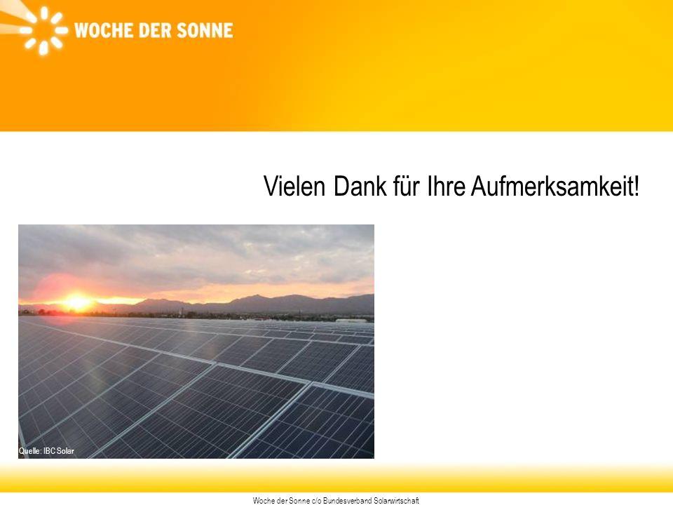 Woche der Sonne c/o Bundesverband Solarwirtschaft Vielen Dank für Ihre Aufmerksamkeit.