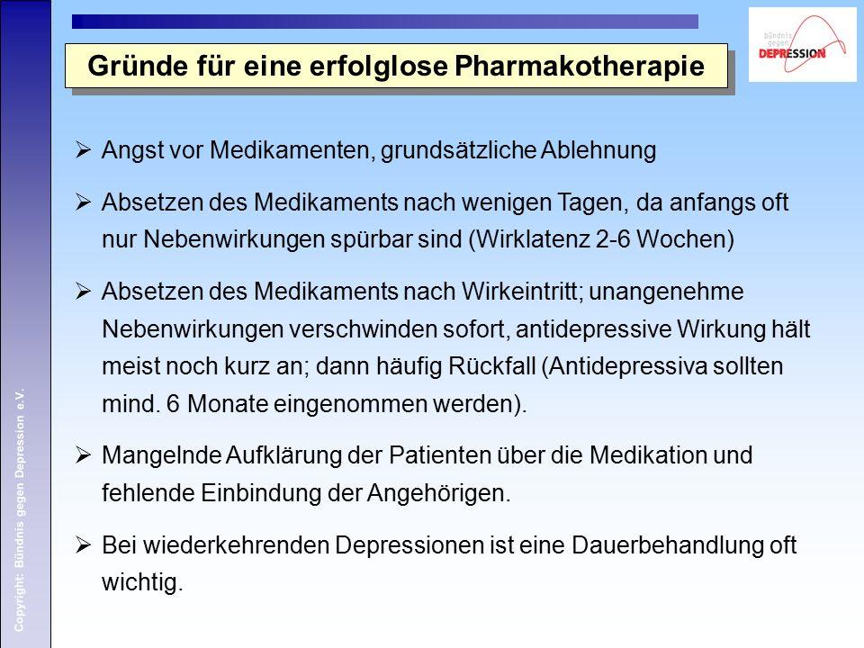 Copyright: Bündnis gegen Depression e.V.  Angst vor Medikamenten, grundsätzliche Ablehnung  Absetzen des Medikaments nach wenigen Tagen, da anfangs