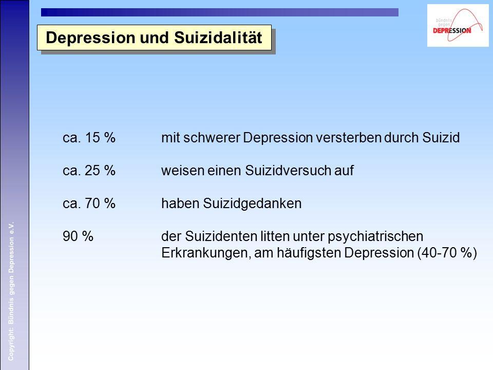 Copyright: Bündnis gegen Depression e.V. Depression und Suizidalität ca. 15 % mit schwerer Depression versterben durch Suizid ca. 25 % weisen einen Su