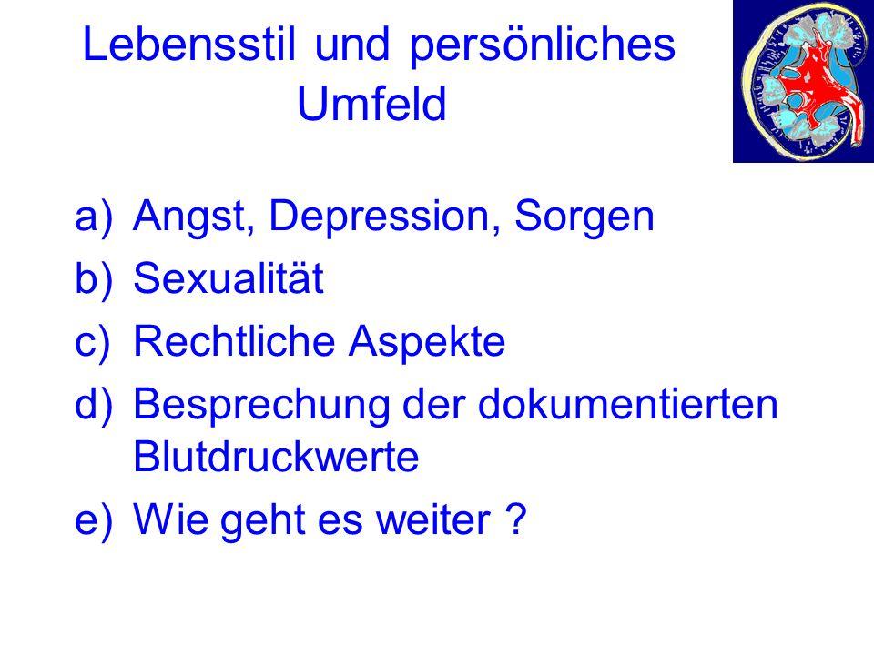a)Angst, Depression, Sorgen b)Sexualität c)Rechtliche Aspekte d)Besprechung der dokumentierten Blutdruckwerte e)Wie geht es weiter ?