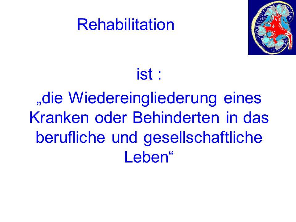 """Rehabilitation ist : """"die Wiedereingliederung eines Kranken oder Behinderten in das berufliche und gesellschaftliche Leben"""