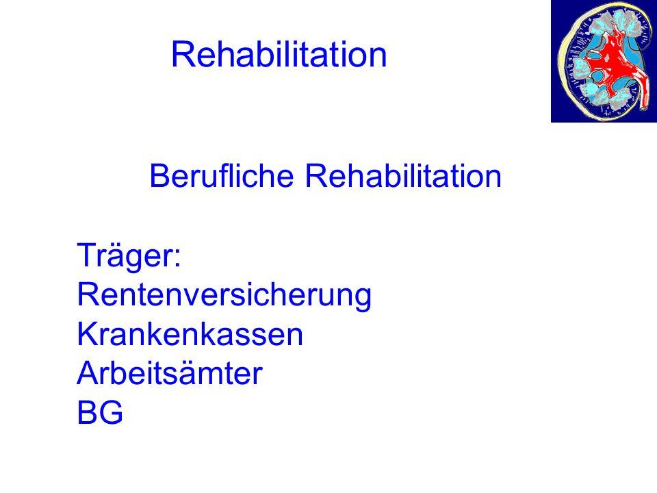 Rehabilitation Medizinische Rehabilitation Berufliche Rehabilitation Träger: Rentenversicherung Krankenkassen Arbeitsämter BG Sozialhilfe