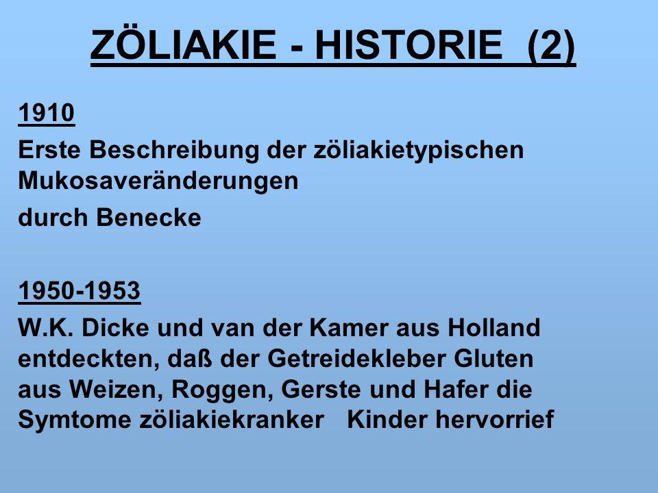 ZÖLIAKIE - HISTORIE (2) 1910 Erste Beschreibung der zöliakietypischen Mukosaveränderungen durch Benecke 1950-1953 W.K.