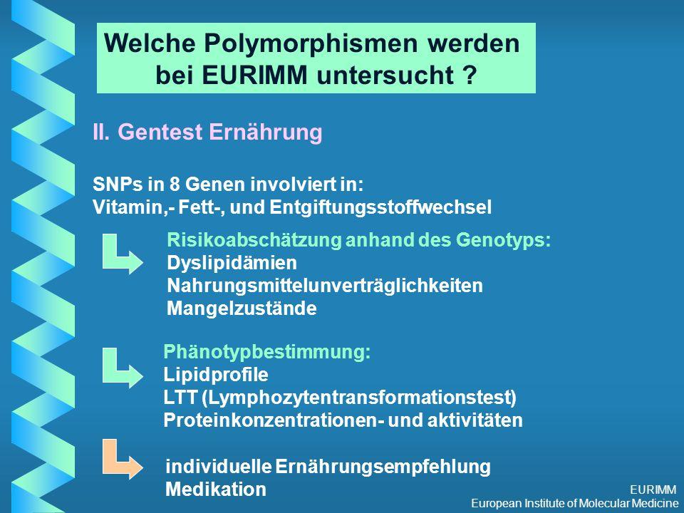 EURIMM European Institute of Molecular Medicine Welche Polymorphismen werden bei EURIMM untersucht .