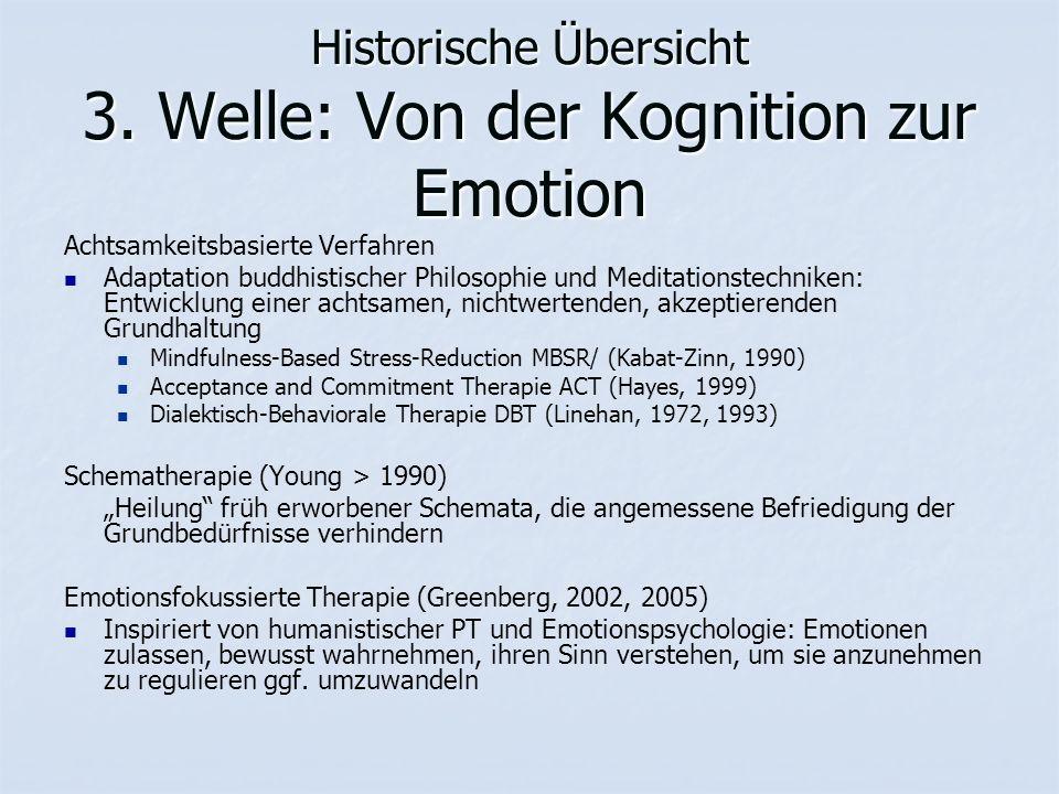 Historische Übersicht 3. Welle: Von der Kognition zur Emotion Achtsamkeitsbasierte Verfahren Adaptation buddhistischer Philosophie und Meditationstech