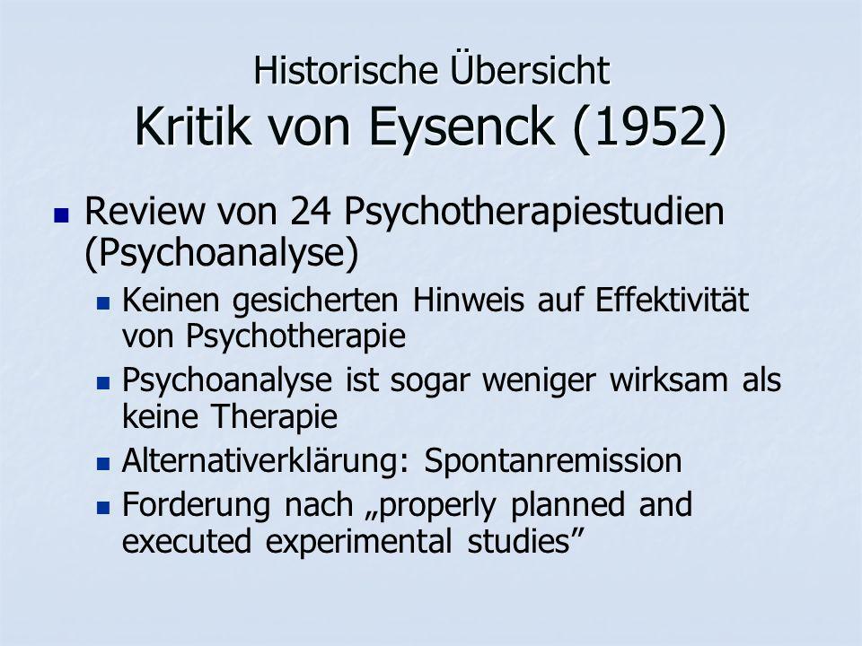 """Historische Übersicht Kritik von Eysenck (1952) Review von 24 Psychotherapiestudien (Psychoanalyse) Keinen gesicherten Hinweis auf Effektivität von Psychotherapie Psychoanalyse ist sogar weniger wirksam als keine Therapie Alternativerklärung: Spontanremission Forderung nach """"properly planned and executed experimental studies"""