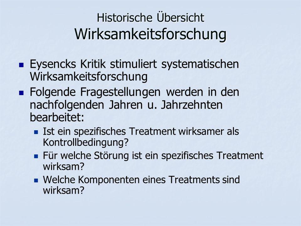 Historische Übersicht Wirksamkeitsforschung Eysencks Kritik stimuliert systematischen Wirksamkeitsforschung Folgende Fragestellungen werden in den nachfolgenden Jahren u.