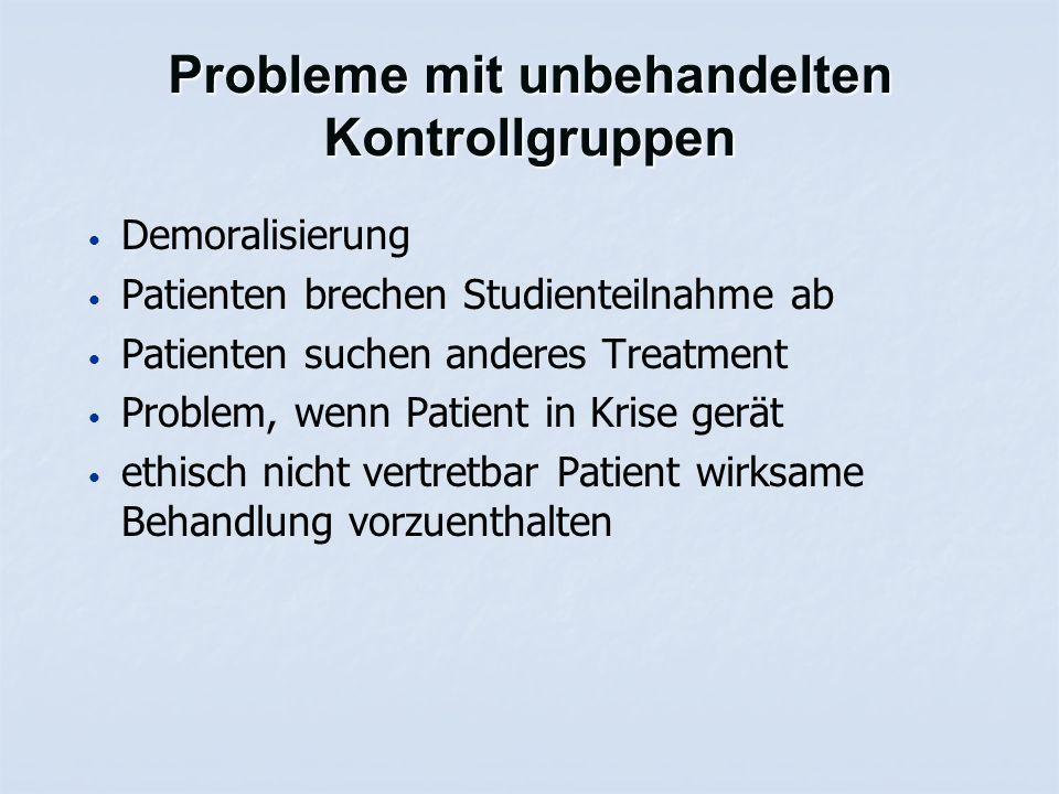 Probleme mit unbehandelten Kontrollgruppen Demoralisierung Patienten brechen Studienteilnahme ab Patienten suchen anderes Treatment Problem, wenn Patient in Krise gerät ethisch nicht vertretbar Patient wirksame Behandlung vorzuenthalten