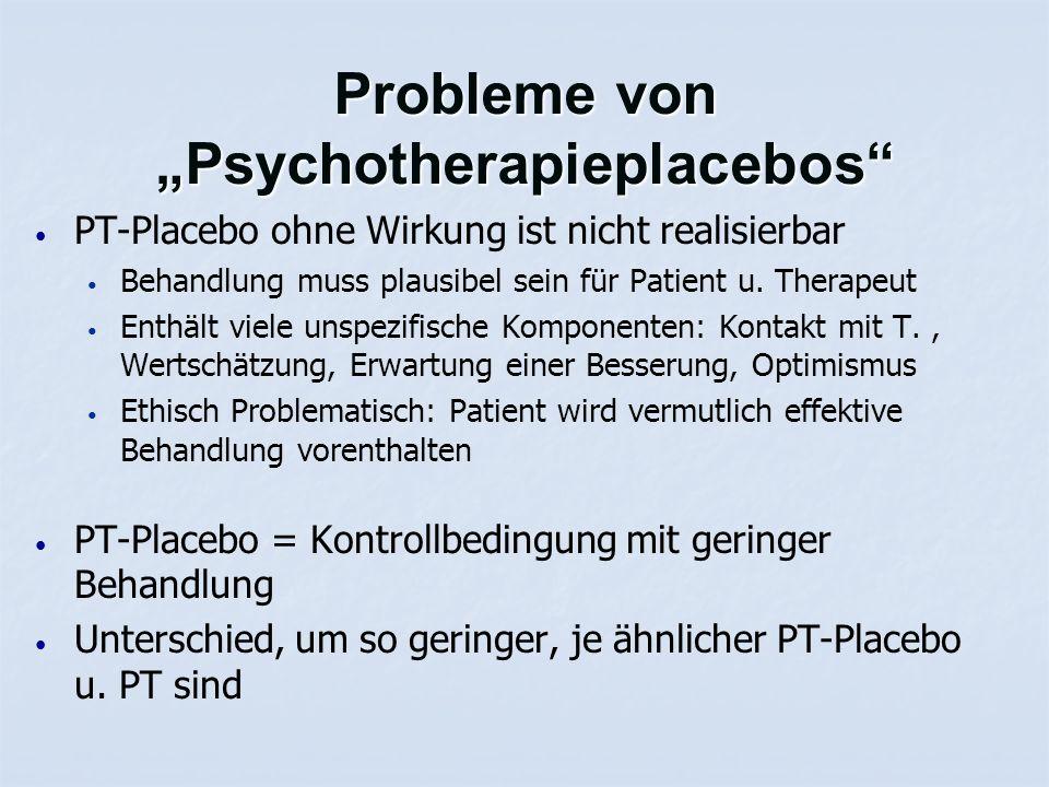 """Probleme von """"Psychotherapieplacebos"""" PT-Placebo ohne Wirkung ist nicht realisierbar Behandlung muss plausibel sein für Patient u. Therapeut Enthält v"""