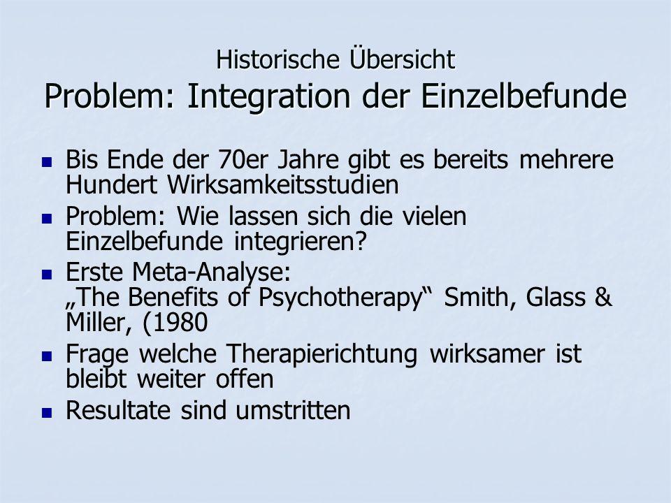 Historische Übersicht Problem: Integration der Einzelbefunde Bis Ende der 70er Jahre gibt es bereits mehrere Hundert Wirksamkeitsstudien Problem: Wie lassen sich die vielen Einzelbefunde integrieren.